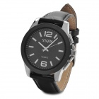 YIQIN K1619 Stylish Stainless Dial PU Leather Band Quartz Wrist Watch - Black (1 x 377)