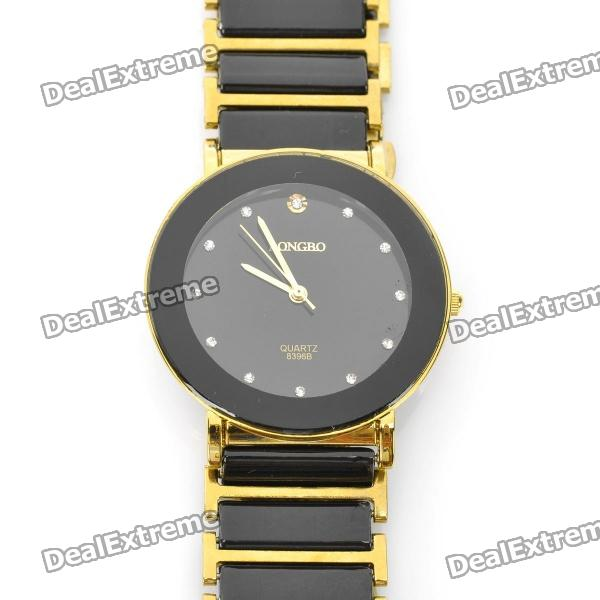 Fashion CrystalCeramic Quartz Wrist Watch - Black + Golden (1 x 377)