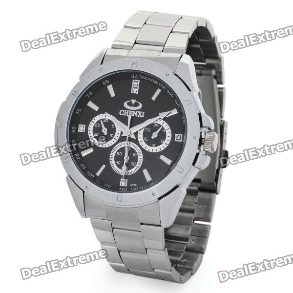 CX-019A Steel Band Quartz Wrist Watch for Men - Black + Silver (1 x 377) кроссовки nike кроссовки nike md runner 2 749794 410