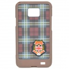 Checked Pattern Protective PC Back Case for Samsung i9100 - Brown