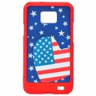 Protective American Flag Style Back Cover Case for Samsung i9100 - Red + Blue