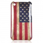 Worn Look American National Flag Pattern ABS Back Case for iPhone 3GS - Blue + Red + Yellow