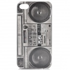 Retro Tape Recorder Pattern Back Case for Iphone 4 / 4S - Grey + Black