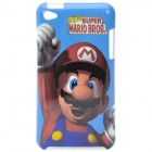 Cartoon Super Mario Bros Pattern Protective Plastic Case for   Ipod Touch 4 - Blue + Red