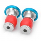 Bicycle Handlebar Bar End Red Light 2-Mode LED Warning Safety Light - Blue (2 x CR2032 / Pair)