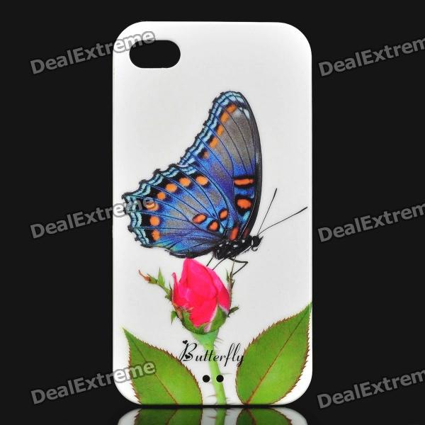 Elegant Rose and Butterfly Pattern Plastic Back Case for Iphone 4 / 4S - White butterfly bling diamond case
