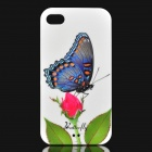 Elegant Rose and Butterfly Pattern Plastic Back Case for iPhone 4 / 4S - White