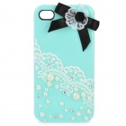 Protective Plastic Case Cover with Pearl & Bow Knot Decoration for Iphone 4/4S - Green
