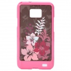 Protective Flower Pattern PC Back Cover Case for Sasmsung i9100 - Pink + Coffee