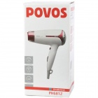 POVOS PH6812 1300W 3-Mode Foldable Cool/Hot Hair Dryer - White + Red (AC 220V)