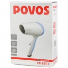 POVOS PH1801 1000W 2-Mode Hair Dryer - White + Blue (AC 220V / 2-Flat-Pin Plug)