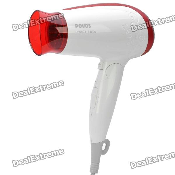 POVOS PH6802 1400W 3-Mode Hair Dryer - White + Red (AC 220V / 2-Flat-Pin Plug)