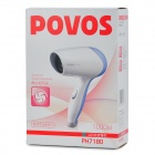 POVOS PH7180 1000W 2-Mode Hair Dryer - White + Blue (AC 220V / 2-Flat-Pin Plug)