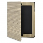 Elegant Woody Stripe Pattern Protective PU Leather Case for iPad 2 / The New iPad - Beige