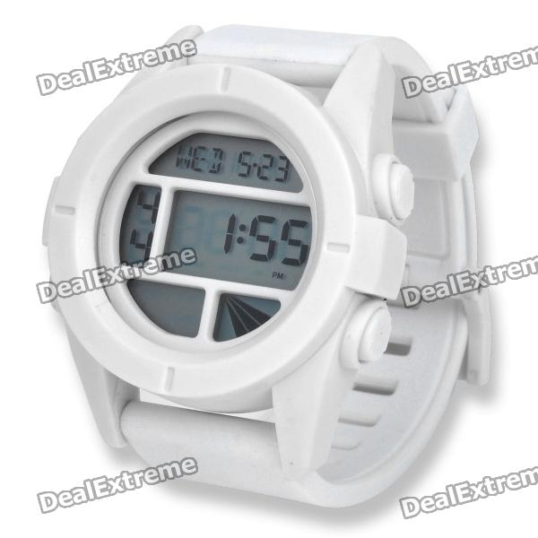 Sports Silicone Band Wrist Watch w/ Hourly Chime/Alarm/Stopwatch/Date - White
