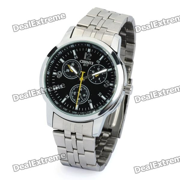 CX-017 Steel Band Quartz Wrist Watch for Men - Black + Silver (1 x 377) fashion stainless steel men s quartz analog wrist watch w calendar silver black 1 x 377