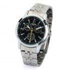 CX-017 Steel Band Quartz Wrist Watch for Men - Black + Silver (1 x 377)