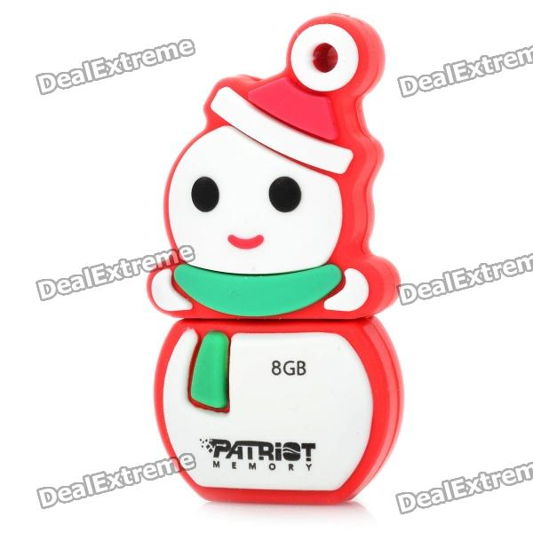 Patriot Christmas Snowman Style USB 2.0 Flash Drive - White + Red (8GB)