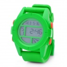 Sports Rubber Band Digital Wrist Watch w/ Alarm / Stop Watch - Green (1 x CR2025)