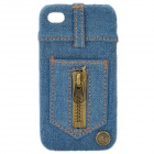 Stylish Zippered PU Leather Back Cover Case for iPhone 4 - Blue