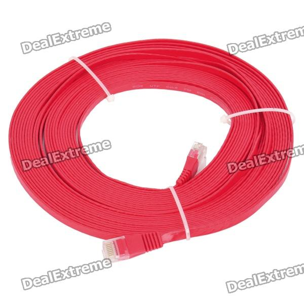 RJ45 to RJ45 Cat.6 Flat Network Cable - Red (10M)