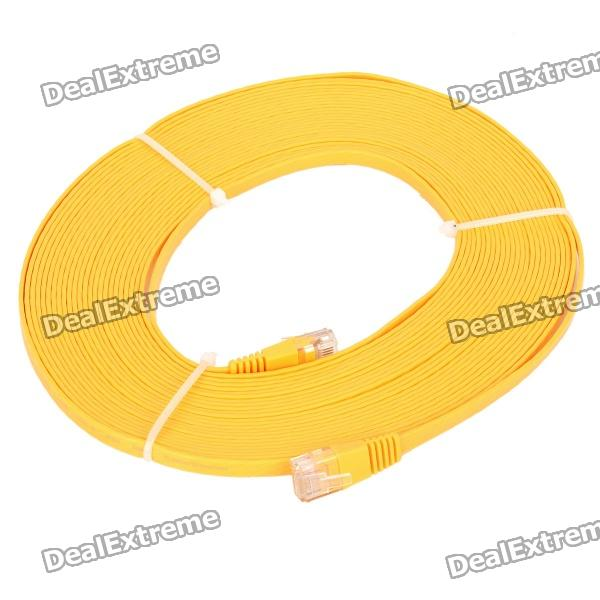RJ45 to RJ45 Cat.6 Flat Network Cable - Yellow (10M)