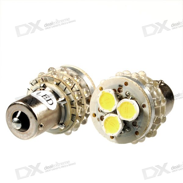 S25 4.5W 150-Lumen White 3+24 27-LED Turning Signal Light Bulbs - Stainless Steel (DC 12V) 2-Pack