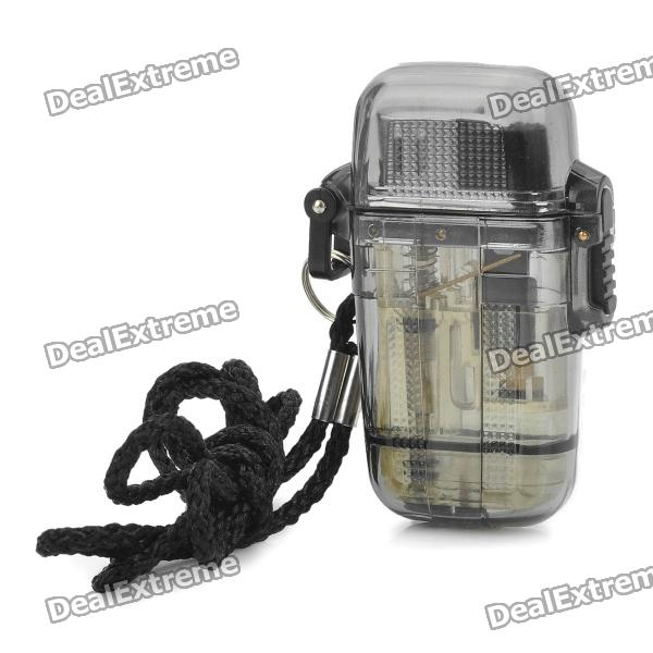 Water Resistant Windproof Butane Jet Flame Lighter - Transparent Grey scorpion pattern windproof dual flame butane gas lighter grey