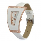 Fashion Triangle Style PU Leather Band Quartz Wrist Watch for Women - White (1 x 377)