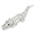 3D Crocodile Style Rhinestone Chromium Alloy Car Decoration Sticker Badges - Silver