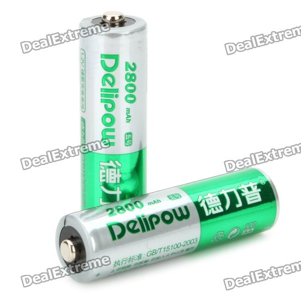 Delipow Rechargeable 1.2V 2800mAh AA Battery (2-Piece Pack) 3 6v 2400mah rechargeable battery pack for psp 3000 2000