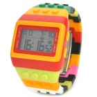Sports Plastic Band Digital Wrist Watch with Green Backlit - Multi-Color (1 x LR626)