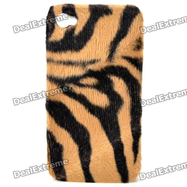 все цены на Plush Tiger Skin Pattern Protective Plastic Back Case for Iphone 4 / 4S - Black + Brown онлайн