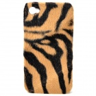 Plush Tiger Skin Pattern Protective Plastic Back Case for Iphone 4 / 4S - Black + Brown