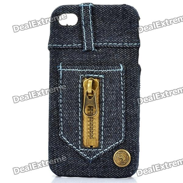 Creative Jeans Style Protective Back Case for Iphone 4 / 4S - Dark Blue retro jeans style protective plastic back case for iphone 5 blue