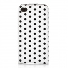 Polka Dot Pattern Protective PU Leather Case for Iphone 4/4S - Black + White