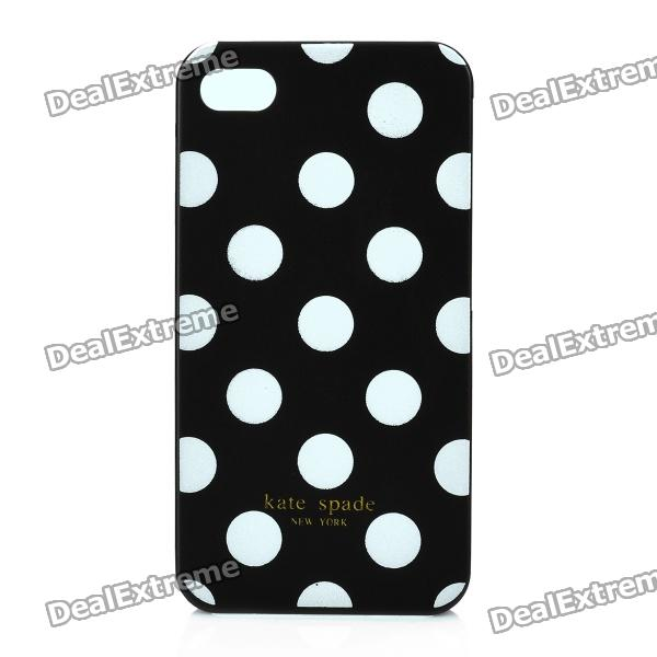 Simple Dots Pattern ABS Back Case for Iphone 4 / 4S - Black + White eiffel raindrop pattern protective abs hard back case w rhinestone for iphone 4 4s light yellow