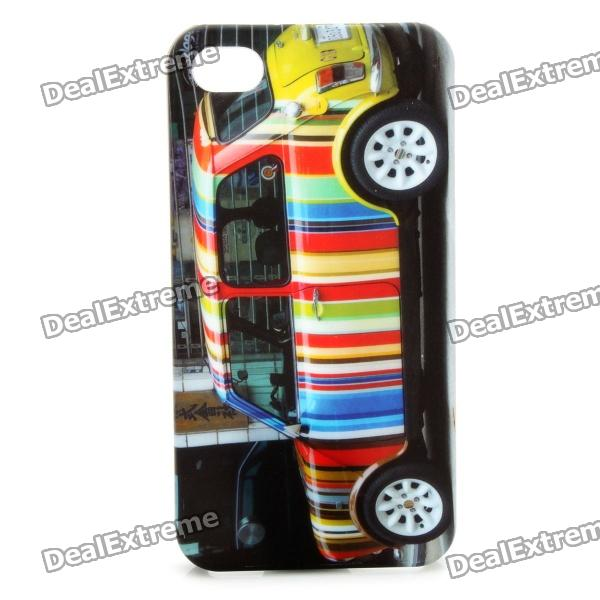 Fashion Colorful Car Pattern Protective Plastic Back Case for Iphone 4 / 4S - Black colorful feather pattern protective plastic case for iphone 5