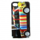 Fashion Colorful Car Pattern Protective Plastic Back Case for iPhone 4 / 4S - Black
