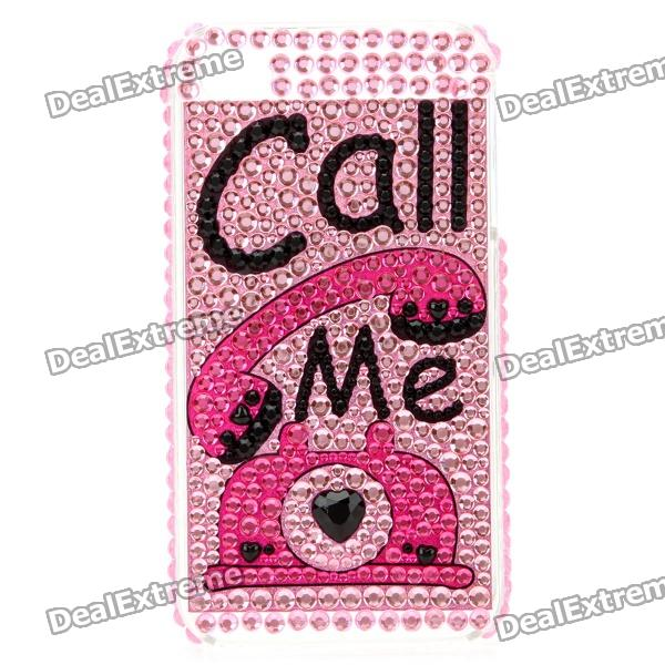 Stylish Diamond Protective Back Case with Call Me Word and Figure for Iphone 4 / 4S - Pink + Black cartoon pattern matte protective abs back case for iphone 4 4s deep pink