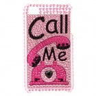 "Stylish Diamond Protective Back Case with ""Call Me"" Word and Figure for Iphone 4 / 4S - Pink + Black"