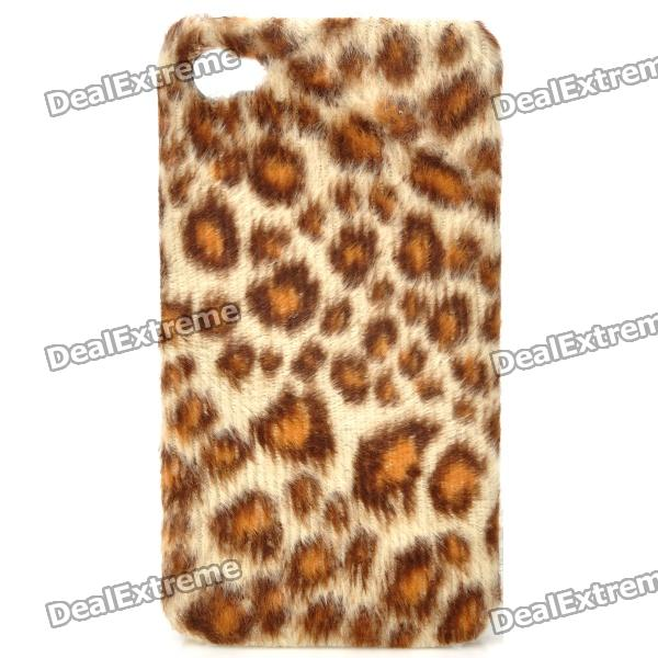 Plush Leopard Skin Pattern Protective Plastic Back Case for Iphone 4 / 4S - Brown statue of liberty pattern protective plastic case for iphone 4 4s blue white