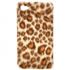 Plush Leopard Skin Pattern Protective Plastic Back Case for iPhone 4 / 4S - Brown