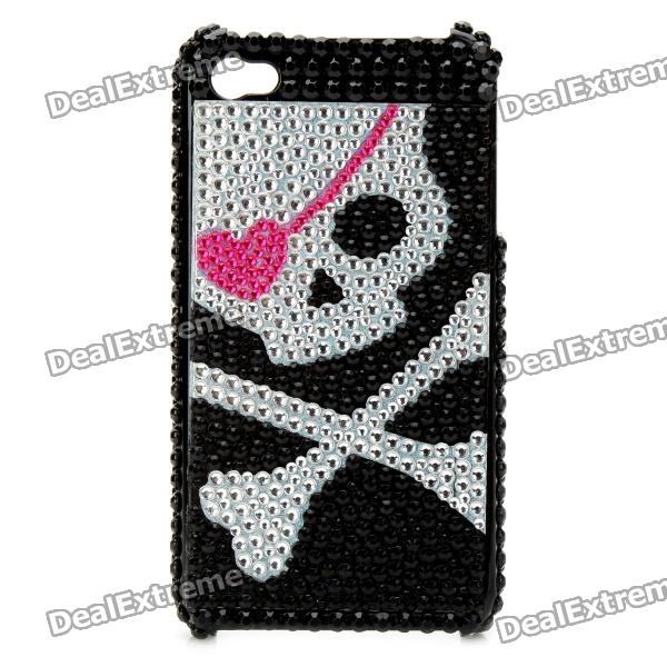 Shining Rhinestone Pirate Skull Pattern Back Case for Iphone 4 / 4S - Black + Silver cartoon pattern matte protective abs back case for iphone 4 4s deep pink