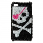 Shining Rhinestone Pirate Skull Pattern Back Case for Iphone 4 / 4S - Black + Silver