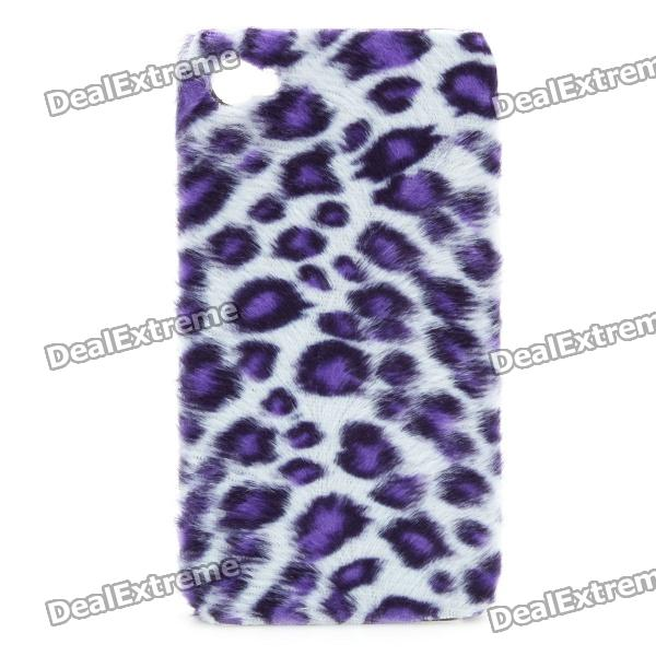 Soft Artificial Leopard Fur Cover Protective Plastic Back Case for Iphone 4 / 4S - Purple + White protective silicone soft back case cover for iphone 5 white