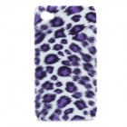 Soft Artificial Leopard Fur Cover Protective Plastic Back Case for Iphone 4 / 4S - Purple + White