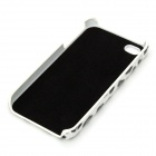 Leopard PU Leather Cover Plastic Back Case for Iphone 4 / 4S - White + Black