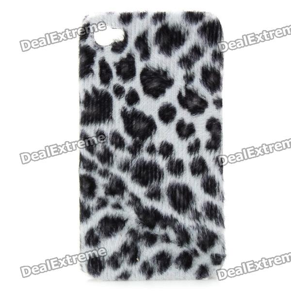 Leopard Style Cover Plastic Back Case for Iphone 4 / 4S - White + Black purple fashionable leopard leather skin hard cover for iphone 5c