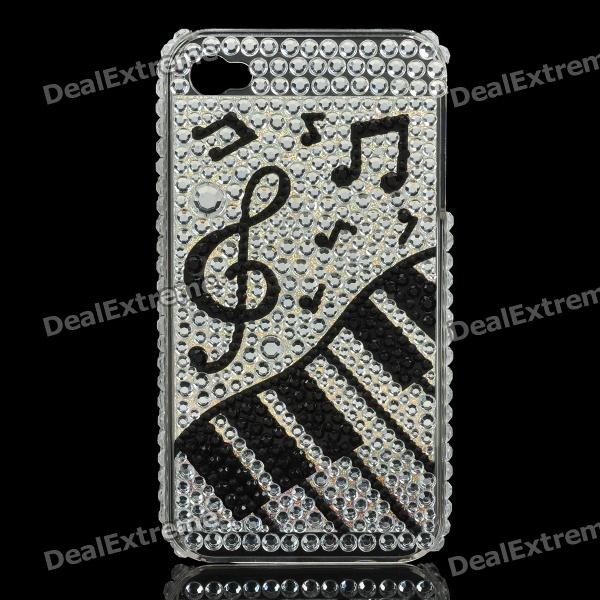 Shining Rhinestone Piano Pattern Plastic Back Case for Iphone 4 / 4S - Silver point back rhinestone ss4 14400pieces 100gross jet black color chaton free shipping